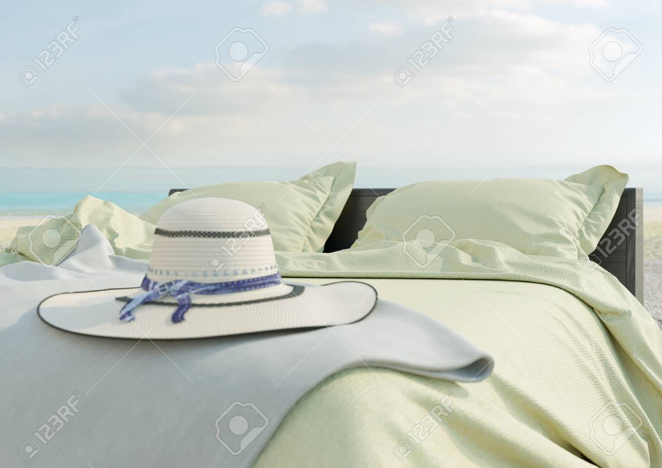 Banque Du0027images   Salon De Plage   Lit Avec Parasol Sur La Vue Sur La Mer  Pour Les Vacances Et L U0026 # 39 ; été Concept Photo