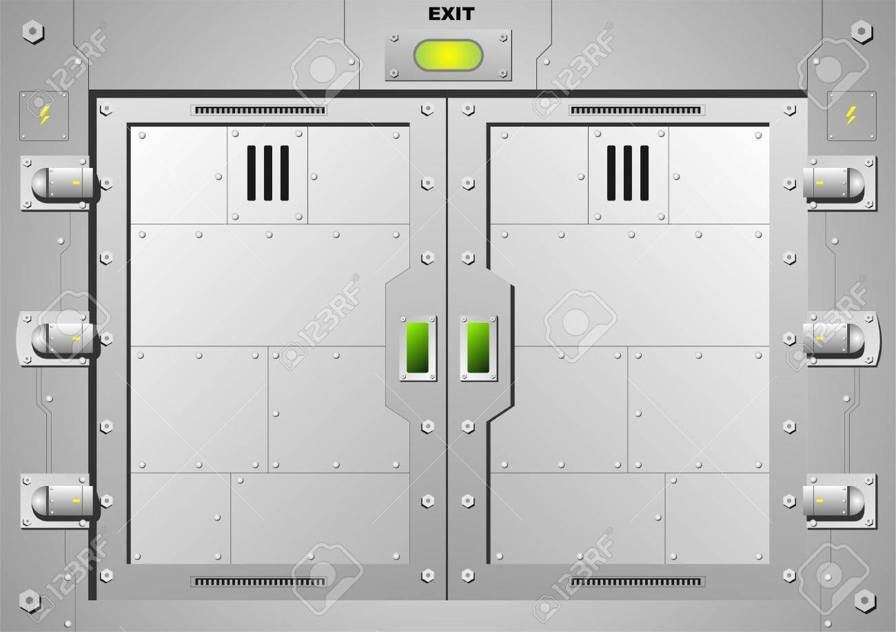 Sliding Steel Door Lock In Vector Graphics Royalty Free Cliparts