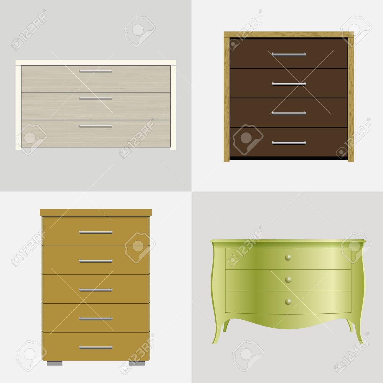 Set Aus Verschiedenen Schubladen, Schränke Für Kleider Und Wäsche ...