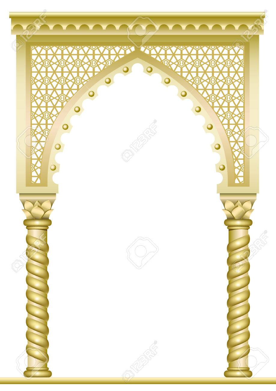 Golden arch with twisted columns in Arabic or other Eastern style - 56585582