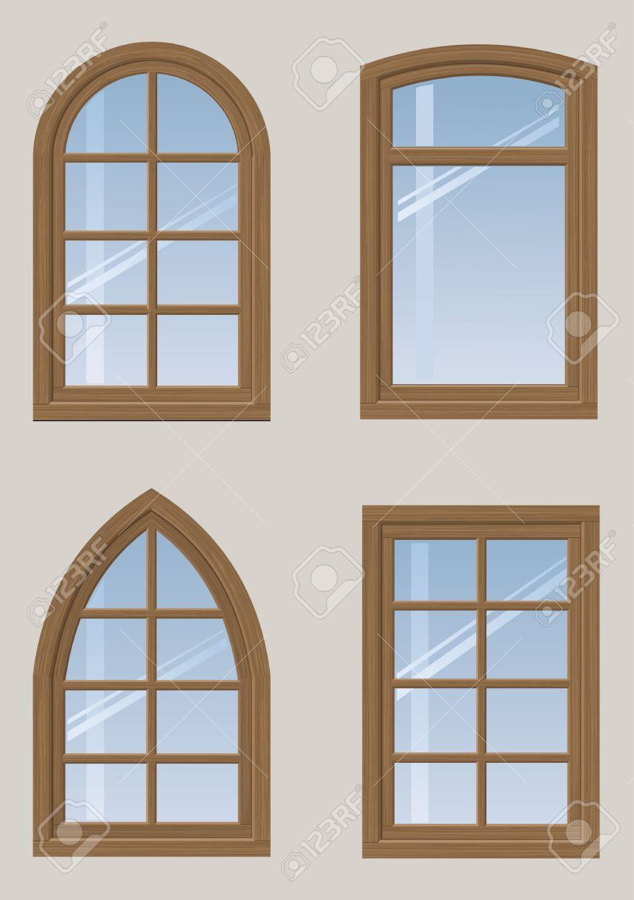 Un Conjunto De Ventanas De Arco De Madera Y Un Diseo Clsico En