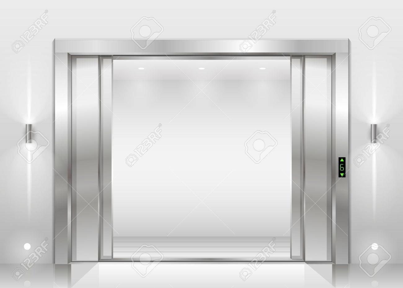 Open the door of the freight elevator hospital or office building. Metal armored sliding door  sc 1 st  123RF.com & Open The Door Of The Freight Elevator Hospital Or Office Building ...