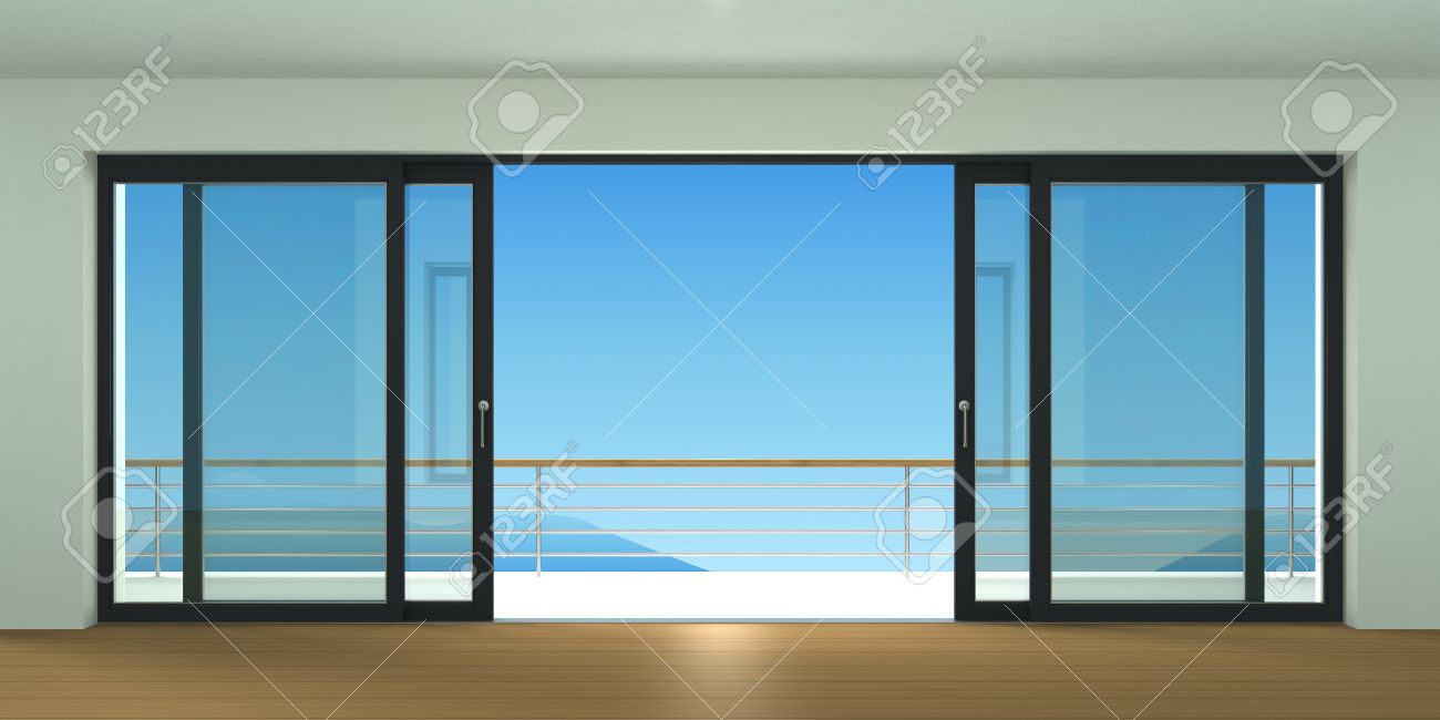 foto de archivo puerta corredera exterior con dos persianas negras especies de ventana panormica y terraza ilustracin d