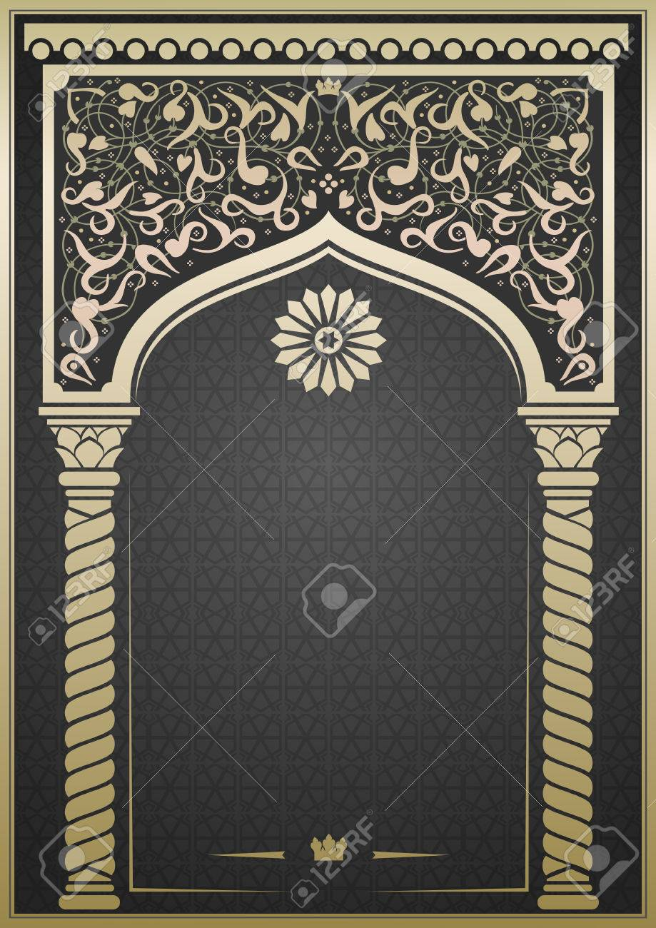 fairytale oriental indian or arabian arch background for cover