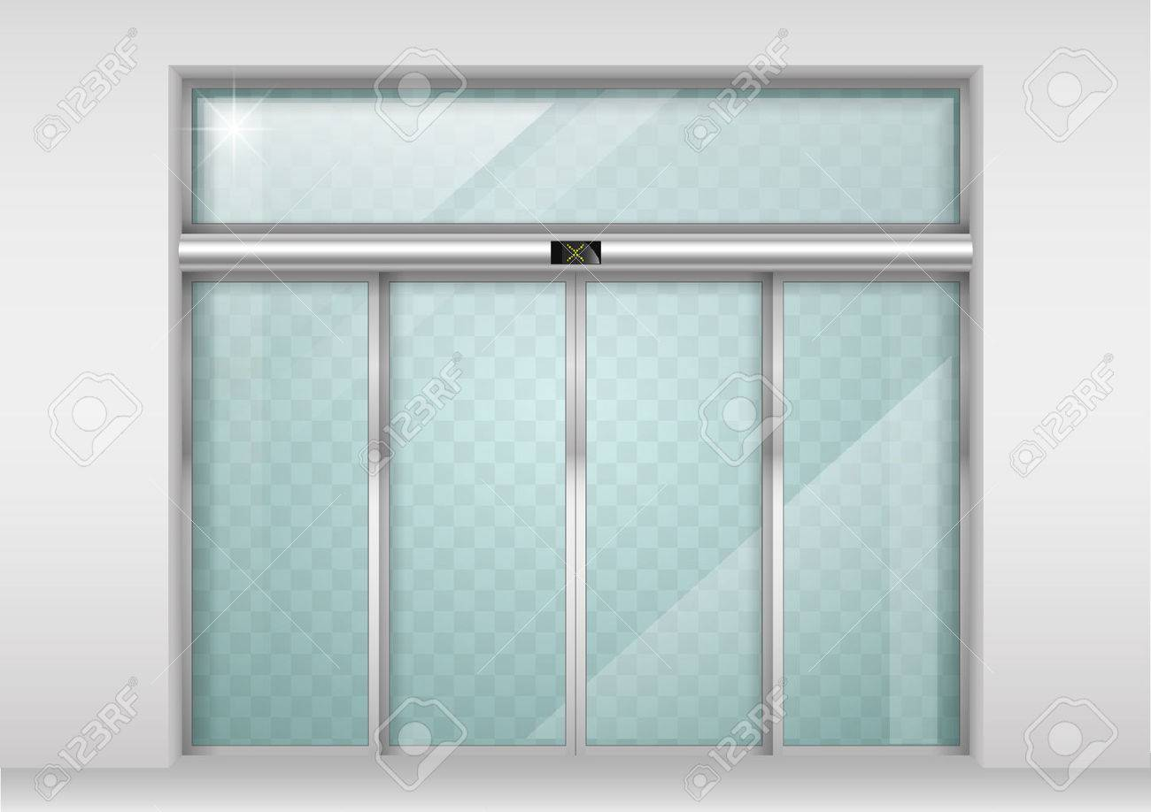 Double sliding glass doors with automatic motion sensor. Entrance to the office, train station, supermarket. - 66779352