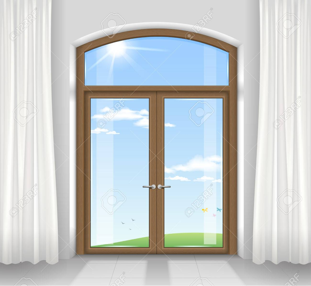 Arched double doors to the terrace overlooking the beautiful arched double doors to the terrace overlooking the beautiful landscape transparent glass vector graphics planetlyrics Gallery