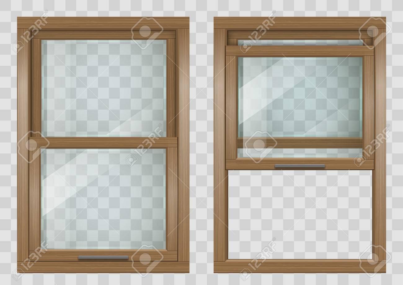 Fenêtre De Levage Rectangulaire En Bois Fenêtre Coulissante Avec Verre Clair Graphiques Vectoriels