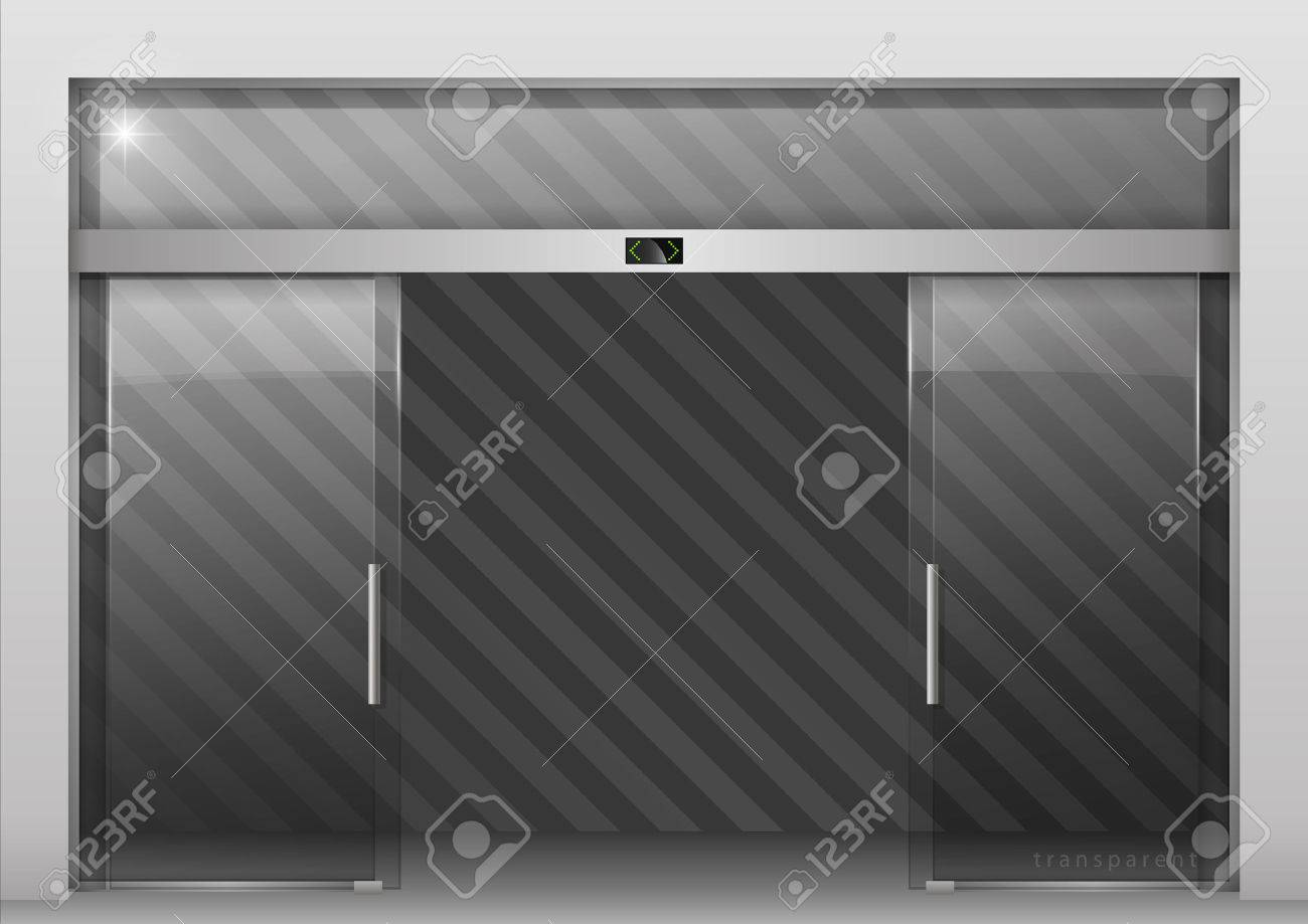 Double sliding glass doors with automatic motion sensor. Entrance to the office train station & Double Sliding Glass Doors With Automatic Motion Sensor. Entrance ...