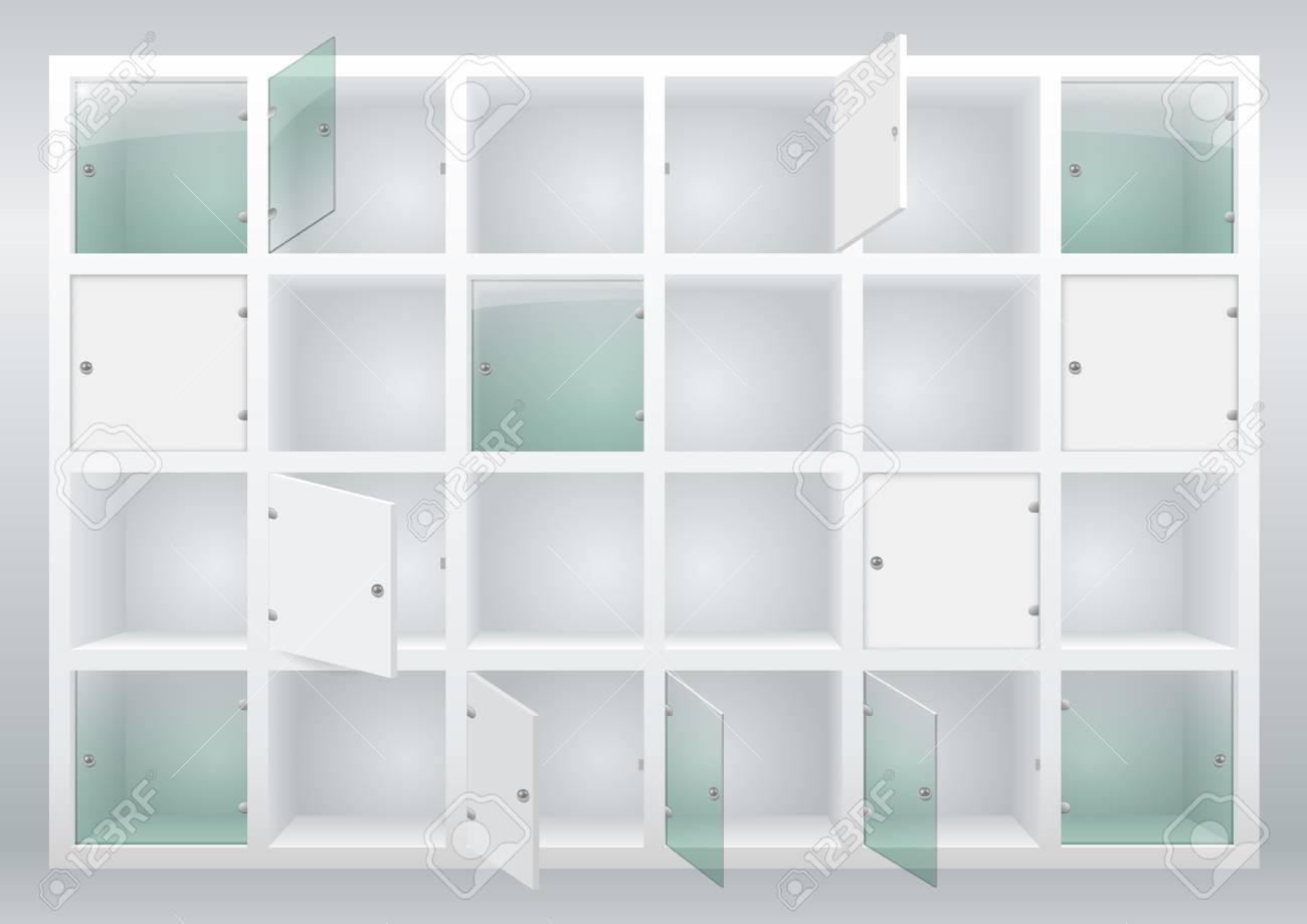 Regale Und Schubladen Mit Türen Aus Glas Oder Sperrholz. Garderobe ...
