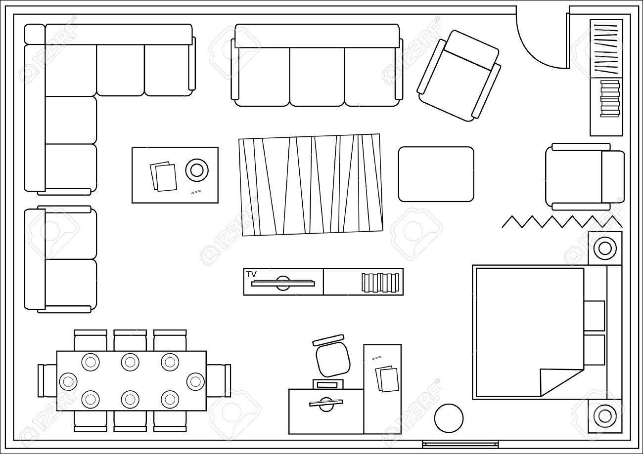 Set Of Icons For Architectural Plans. Drawing Furniture Living Room, Bedroom,  Dining Room