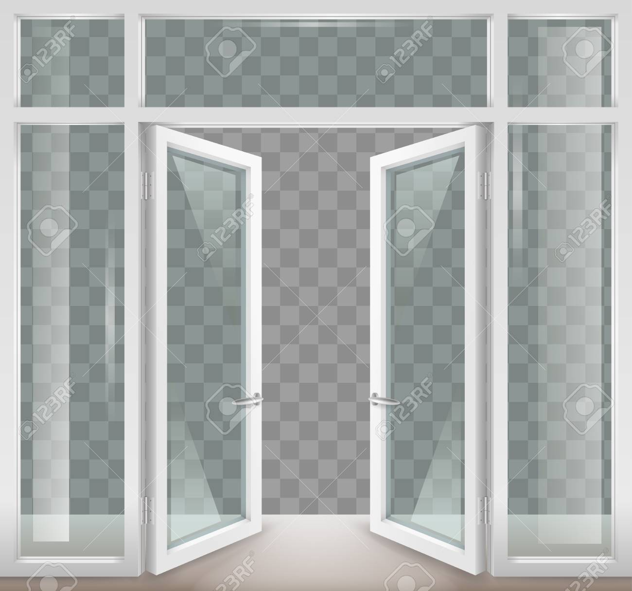 Exceptionnel Vector   White Classic Wooden Open Doors With Transparent Glass. Vector  Graphics