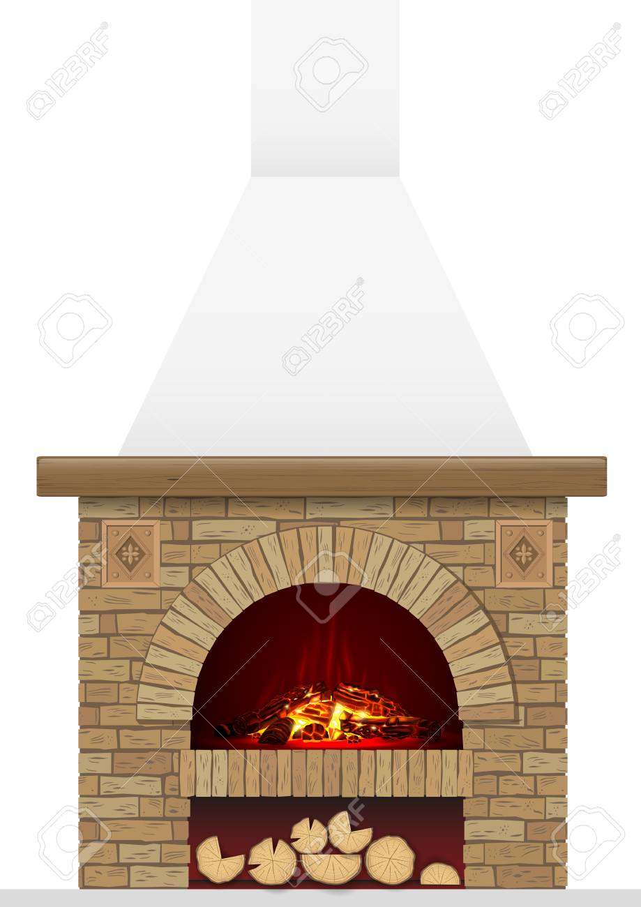 An Ancient Brick Hearth With Fire Brick Arch With Fireplace