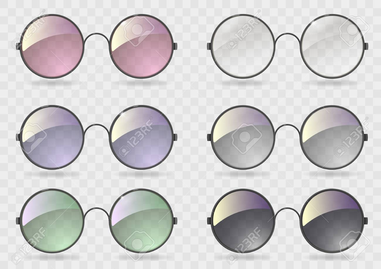 46598fcd3e Set of round glasses with different lenses. Retro style. Hippie. Vector  graphics with
