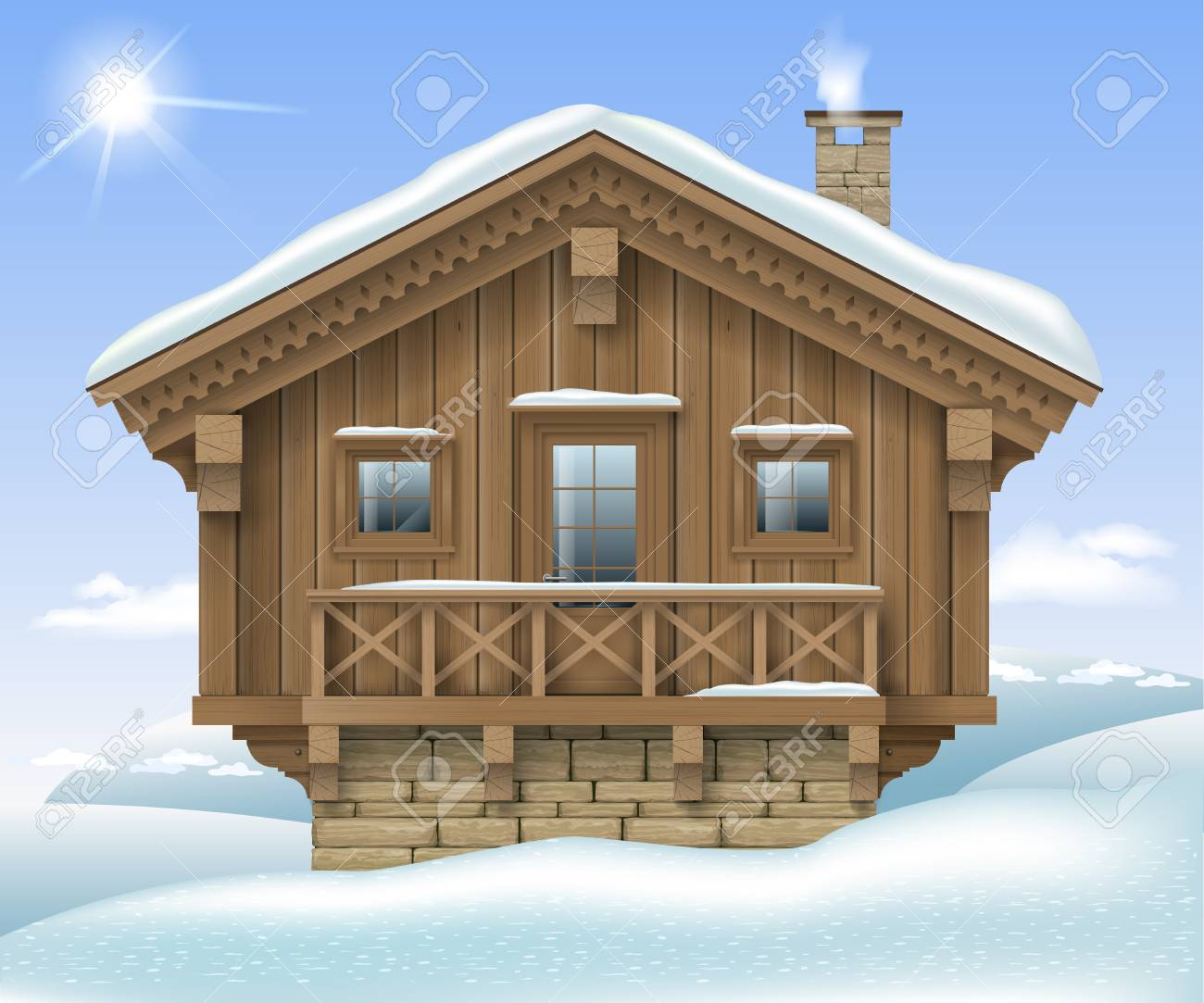 Wooden Small House Or Chalet In The Winter Mountains The