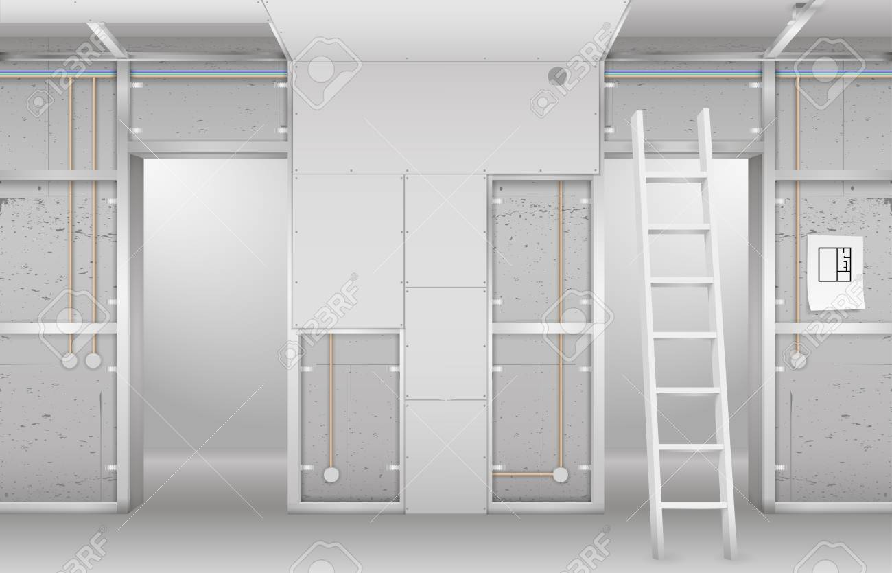 Interior under construction. Frame drywall, design and complete living room. Vector graphics - 102062752