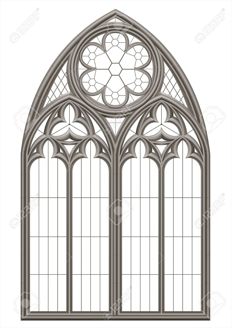 Realistic Gothic medieval stained glass window and stone arch with a shadow. Transparent shadow. Background or texture. Architectural element - 107903325
