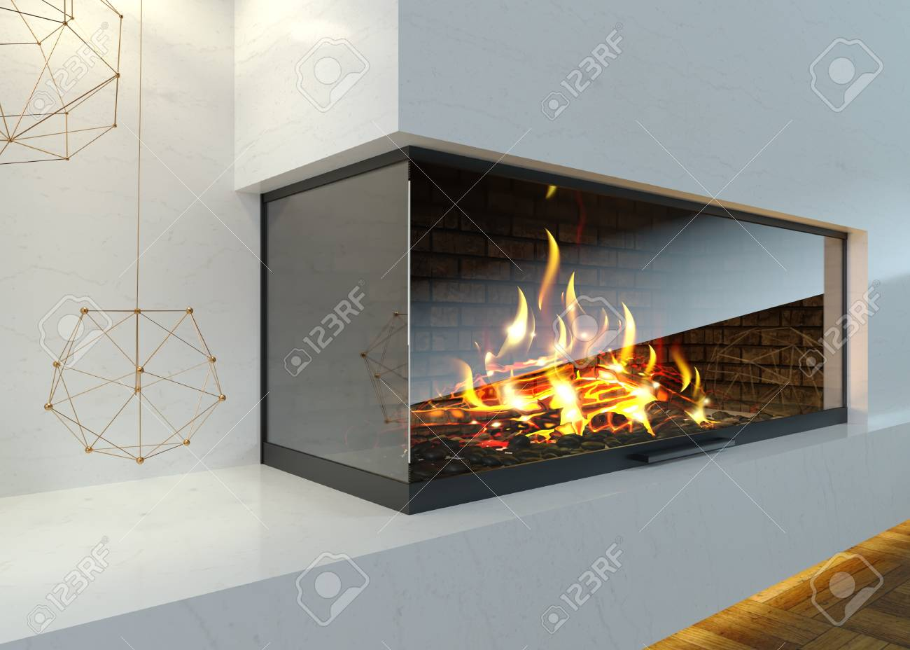 Modern Glass Corner Fireplace In The Interior Stock Photo Picture And Royalty Free Image Image 115177252