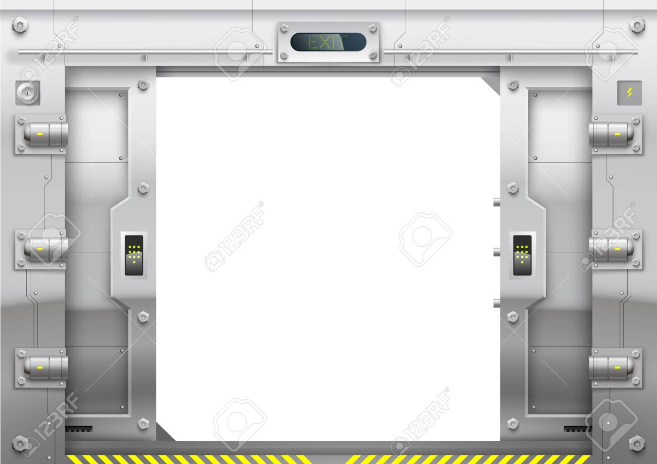 Futuristic metal armoured with sliding gate open - 150915951