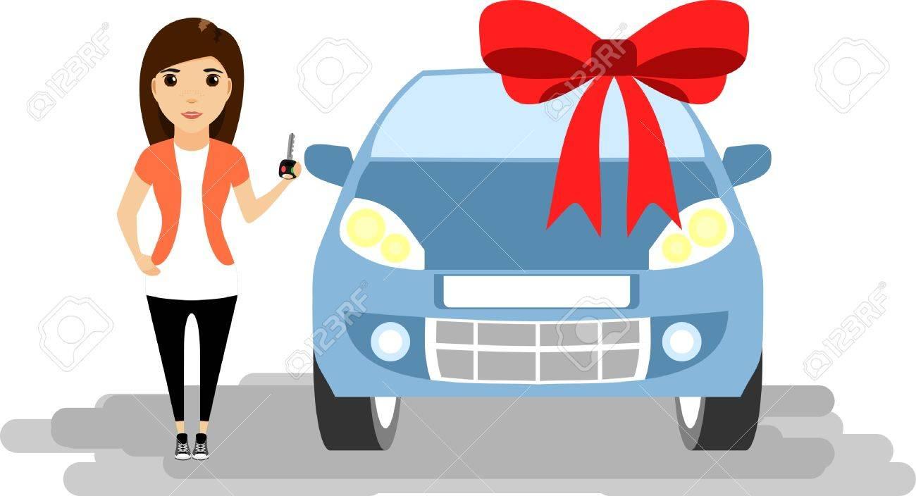 Madchen Mit Schlussel In Der Hand Neues Auto Geschenk Lizenzfrei