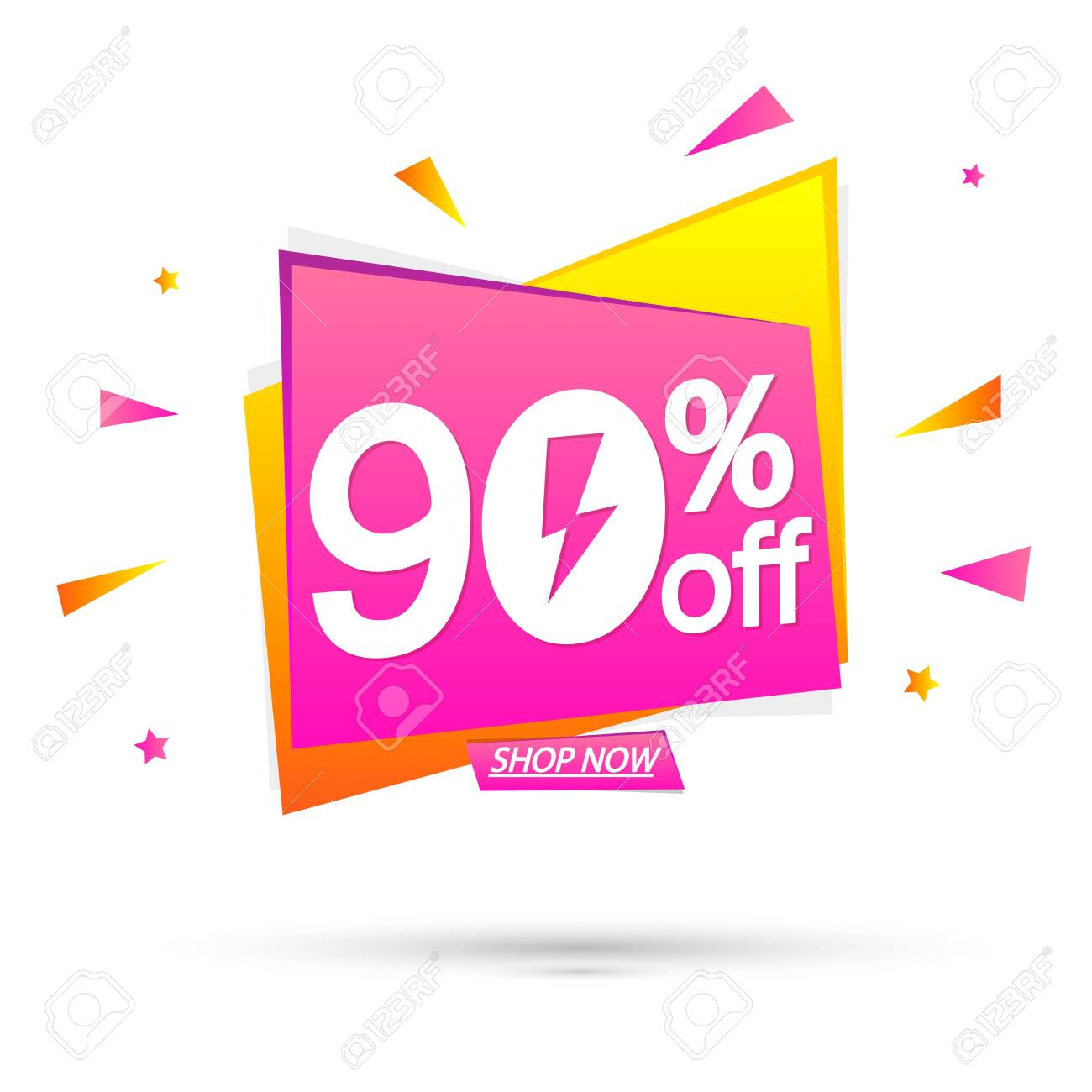 Sale 90% off, special offer, banner design template, discount tag, app icon, vector illustration - 150193153