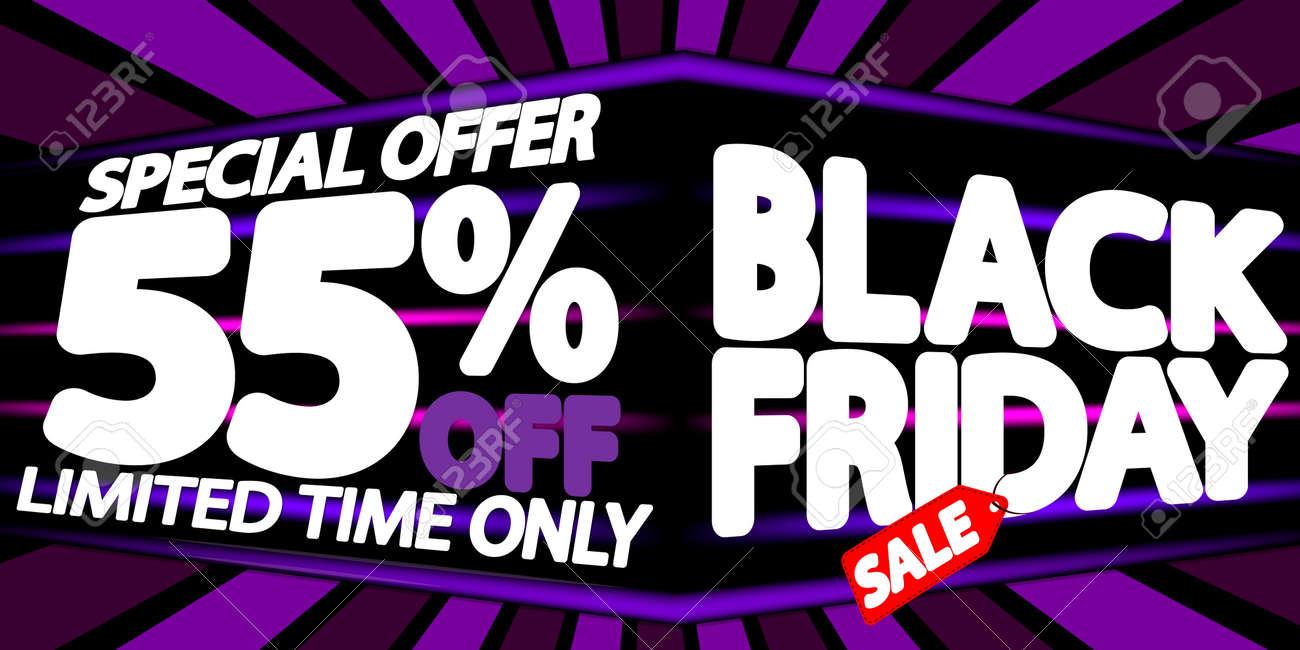 Black Friday Sale 55% off, discount poster design template, final season offer, promotion banner, vector illustration - 159310137