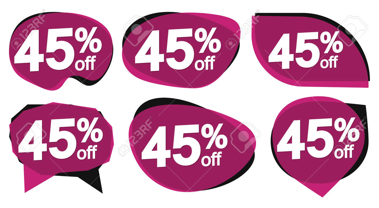 Set Sale 45% off banners, discount tags design template, special offer, end of season deal, app icons, vector illustration - 165964254
