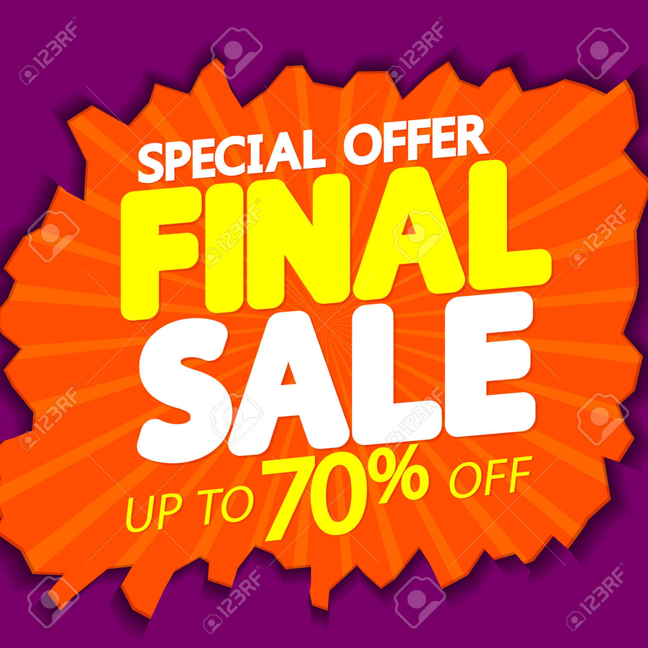 Final Sale up to 70% off, poster design template, special offer, final season discount banner, vector illustration - 166230663
