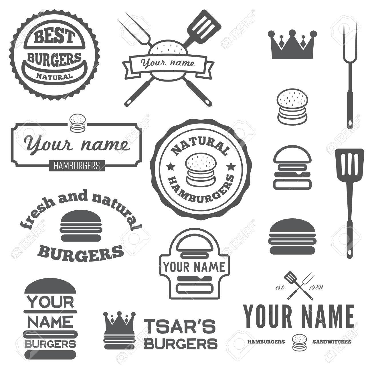 Collection of labels stickers and elements for fast food