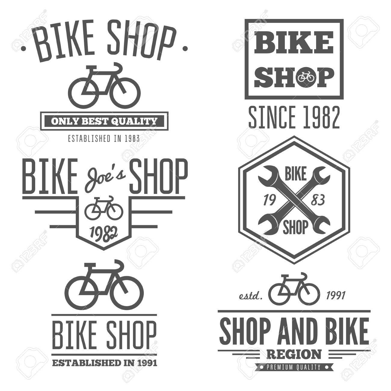 Collection Of Vintage And Modern Bicycle Shop Logo Badges And