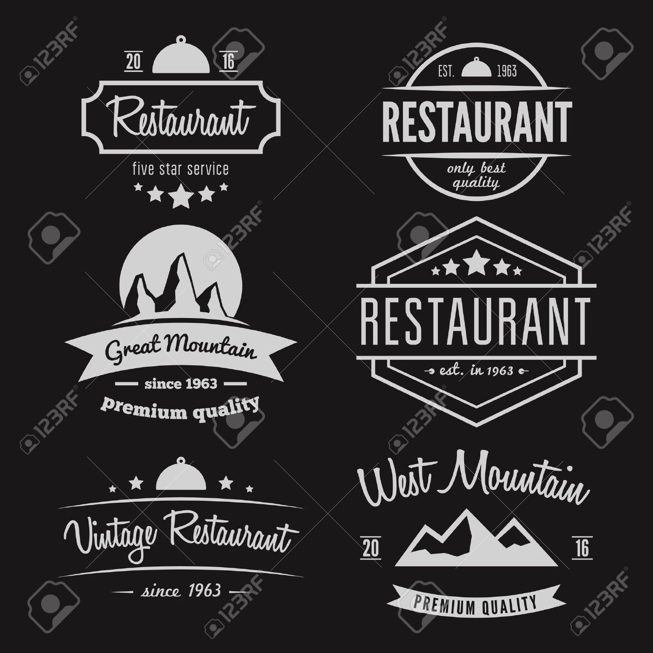 Set of different logo and logotype elements for restaurant, cafe, cafeteria, bar or company - 41710623