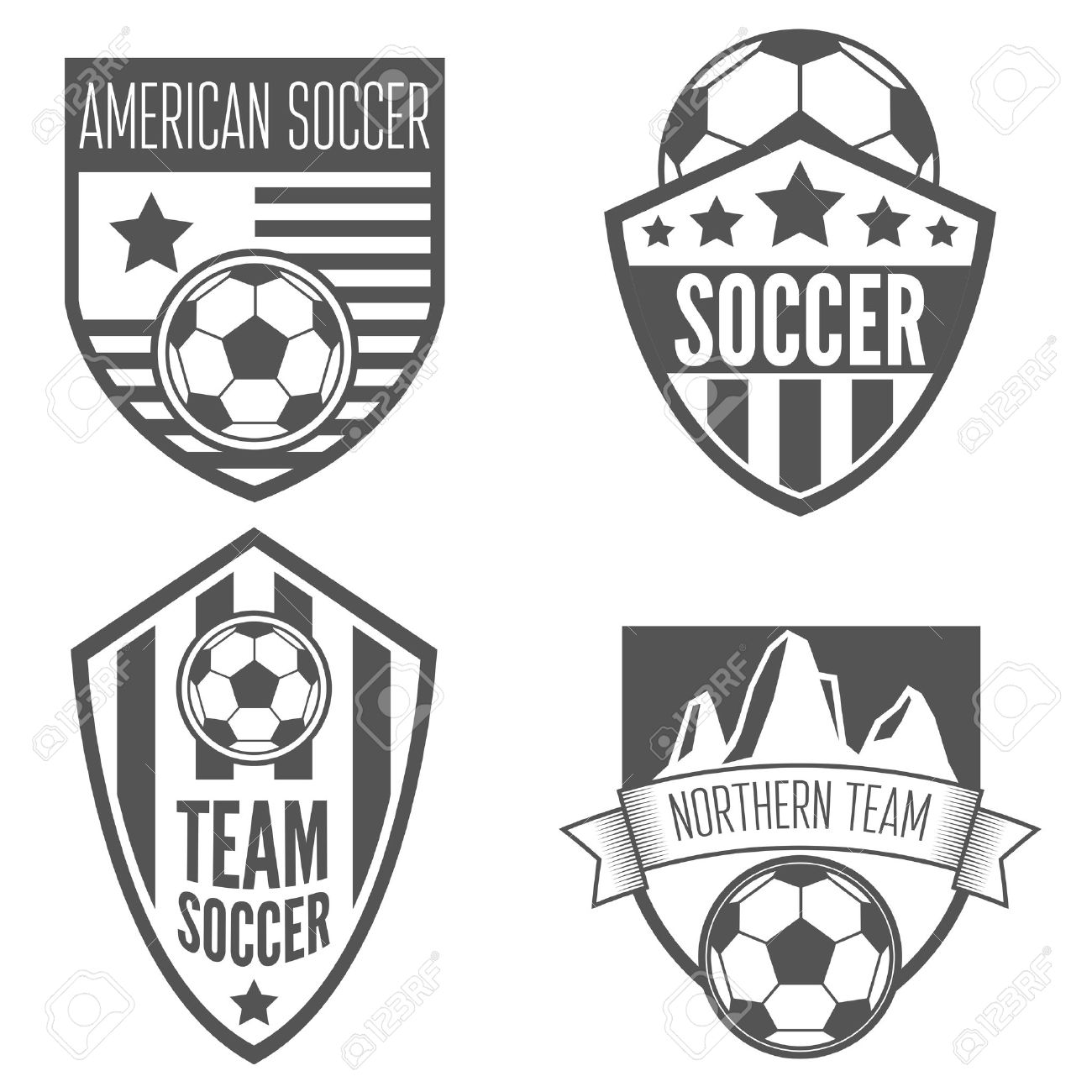 collection of vintage soccer football labels emblem and logo