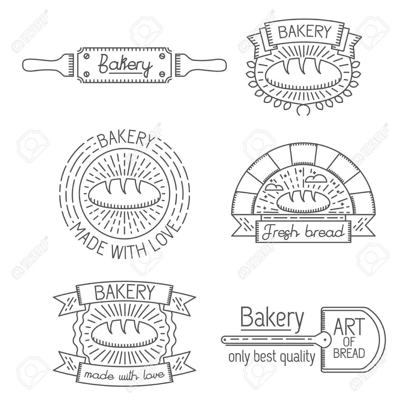 Set Of Badges Labels And Templates In Trendy Linear Style About
