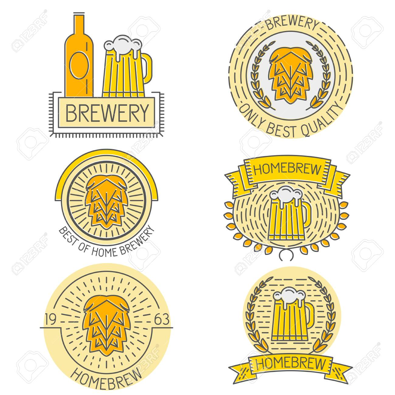 Set of badges, labels and templates in trendy linear style about