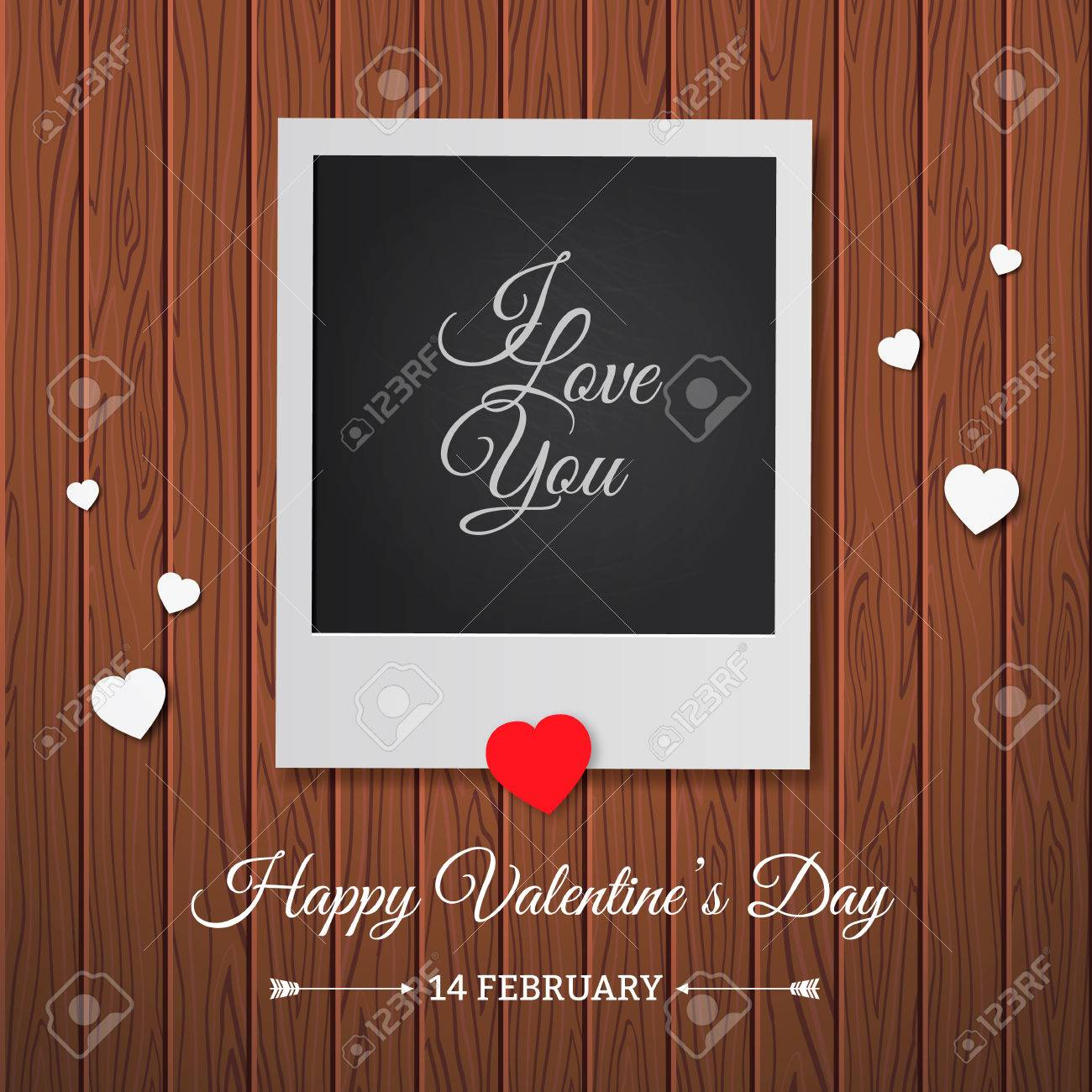 Postcard Happy Valentine\'s Day With A Blank Template For Photo ...