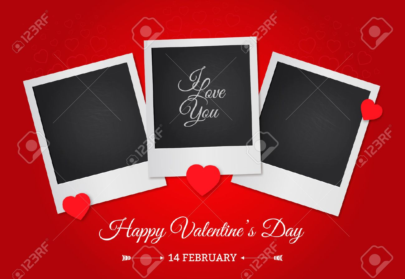 Postcard Happy Valentine S Day With A Blank Template For Photo