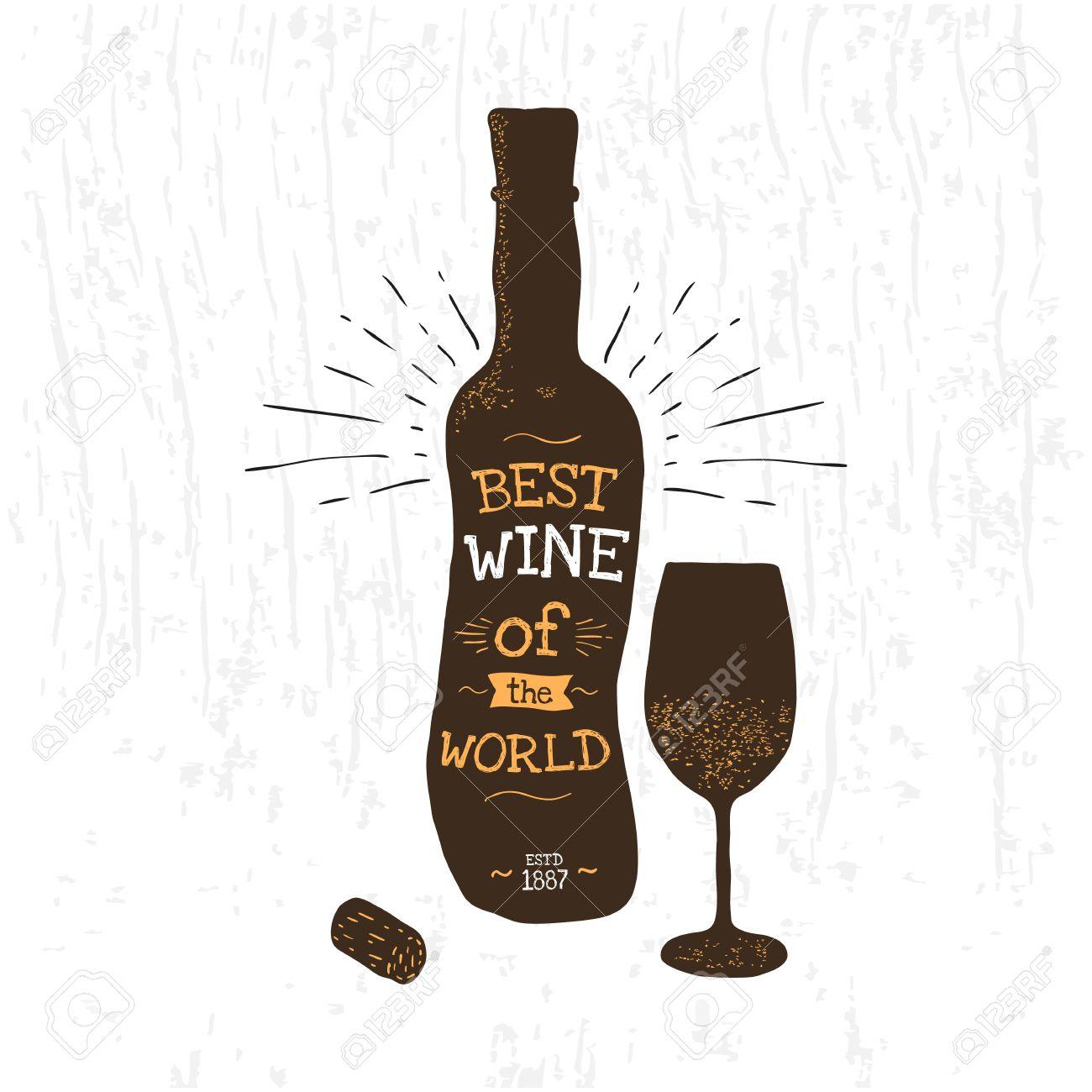Silhouette de bouteille de vin, le verre, le liège. affiche de typographie pour le magasin d'alcools.