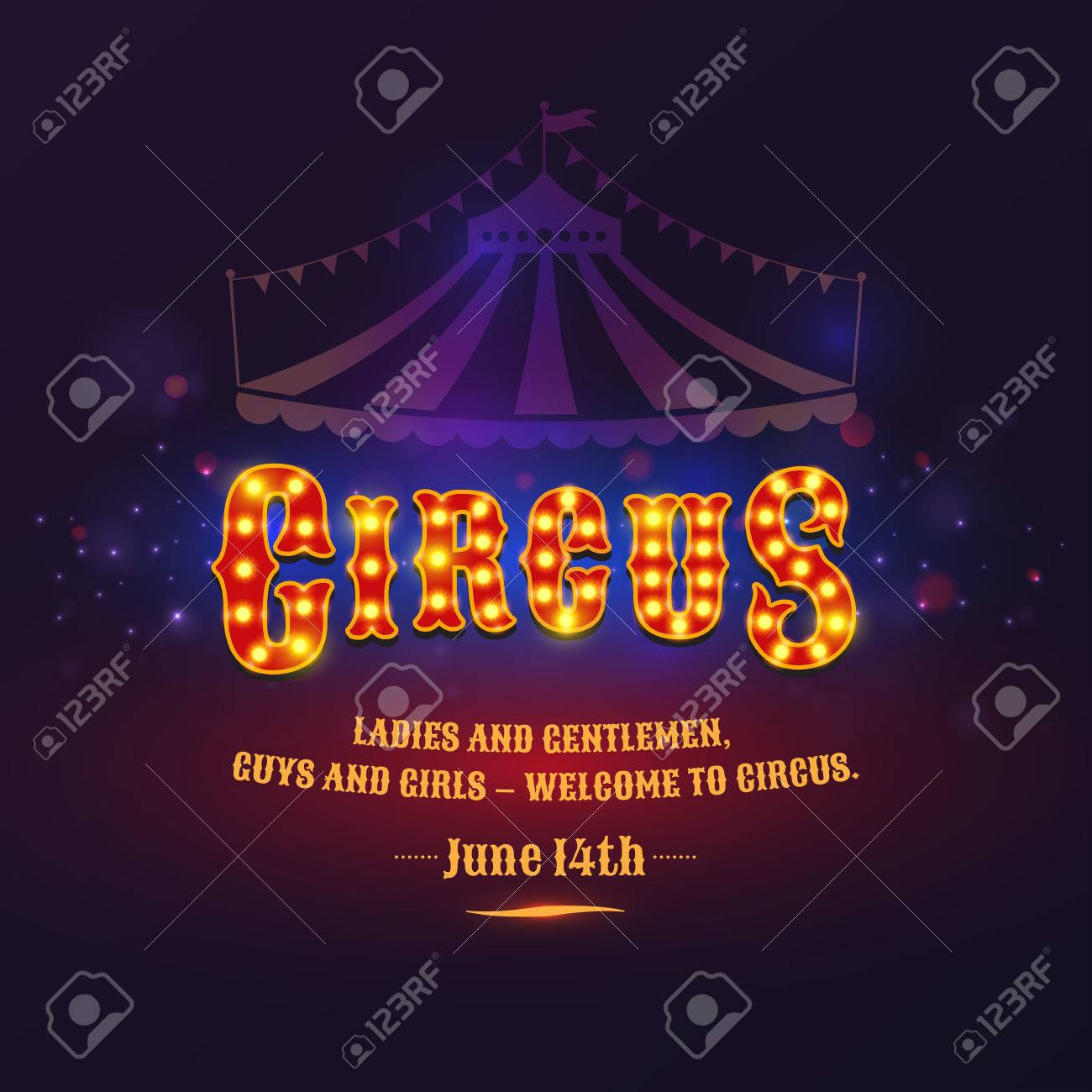 The poster for the circus. The illuminated sign. Letter from the lamps. Vector illustration - 39002066