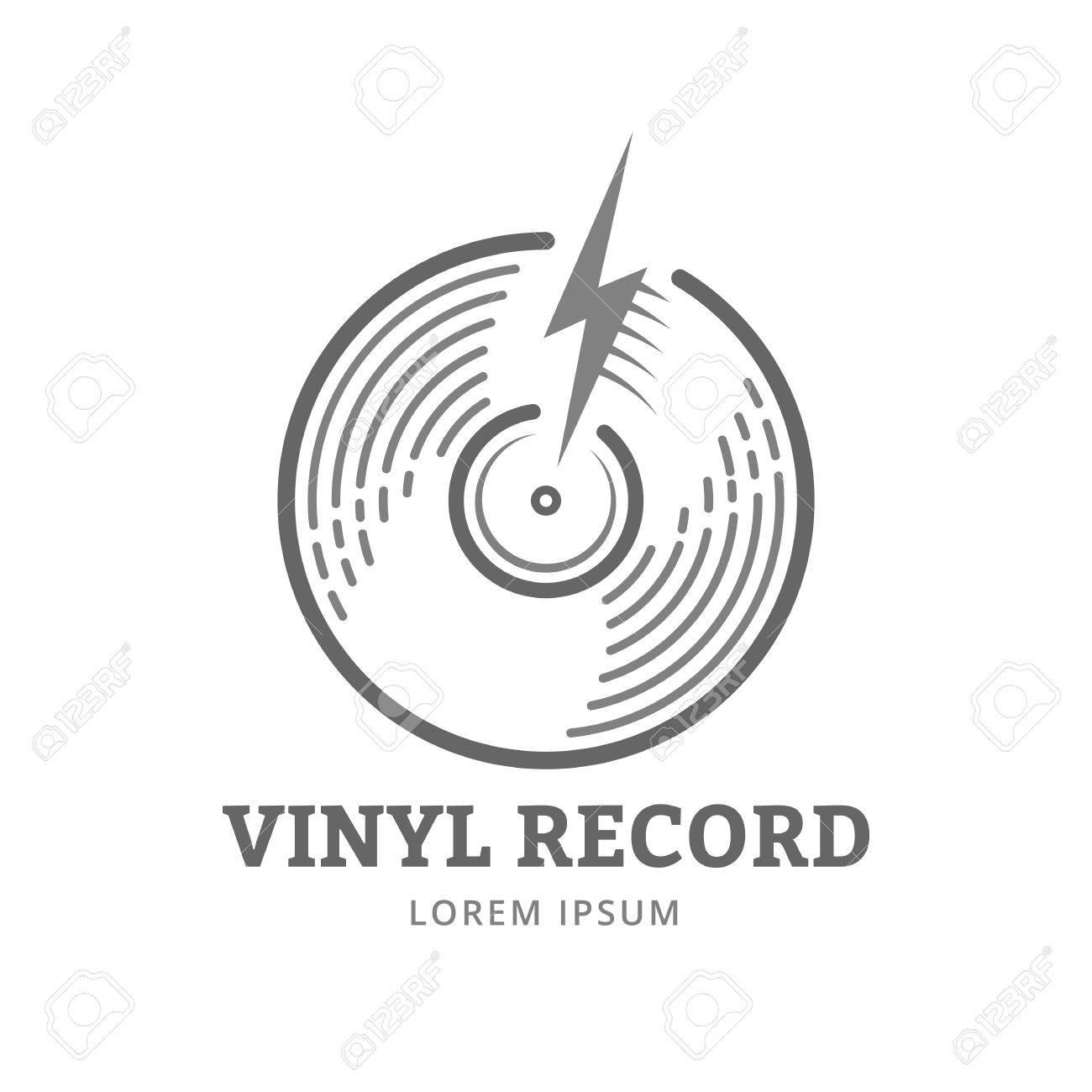 vinyl record logo modèle vector icône de la musique ou de l emblème