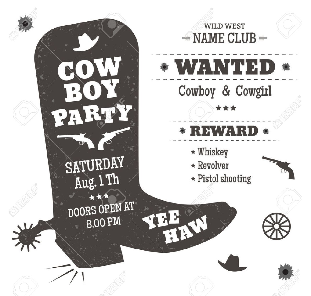 Cowboy Party Poster Or Invitation In Western Style. Cowboy Boots ...