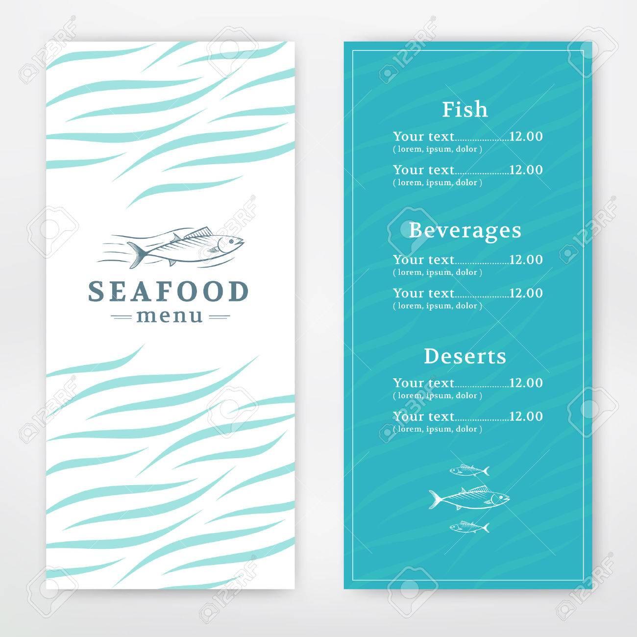 Seafood menu design for restaurant or cafe. Vector template - 45352880