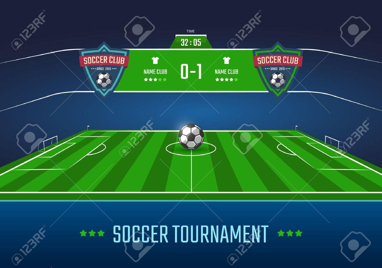 3bc0efa9c35bc Campo de fútbol en perspectiva horizontal con el marcador. ilustración  vectorial Foto de archivo -
