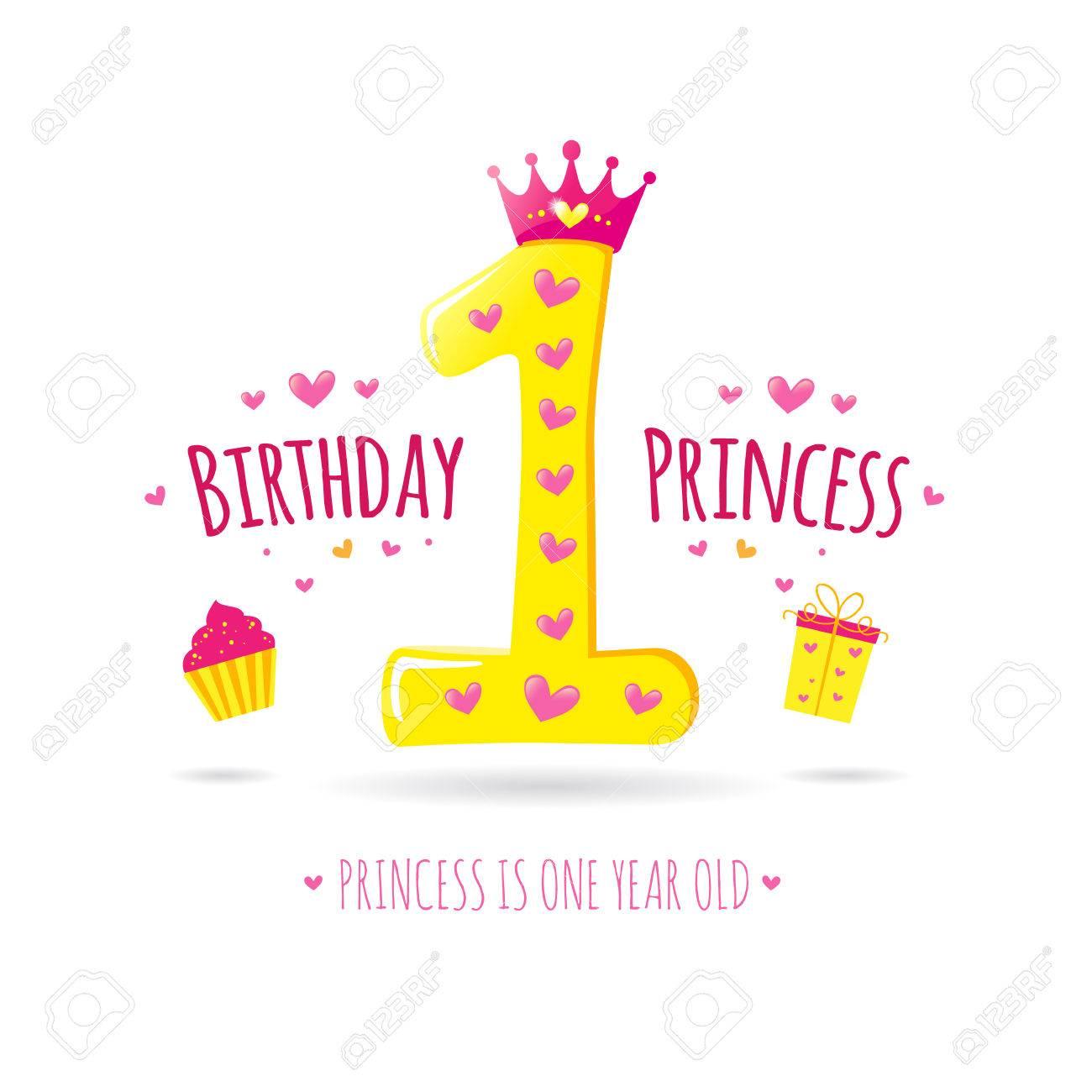 Happy first birthday greeting card for your princess vector happy first birthday greeting card for your princess vector stock vector 48539614 m4hsunfo
