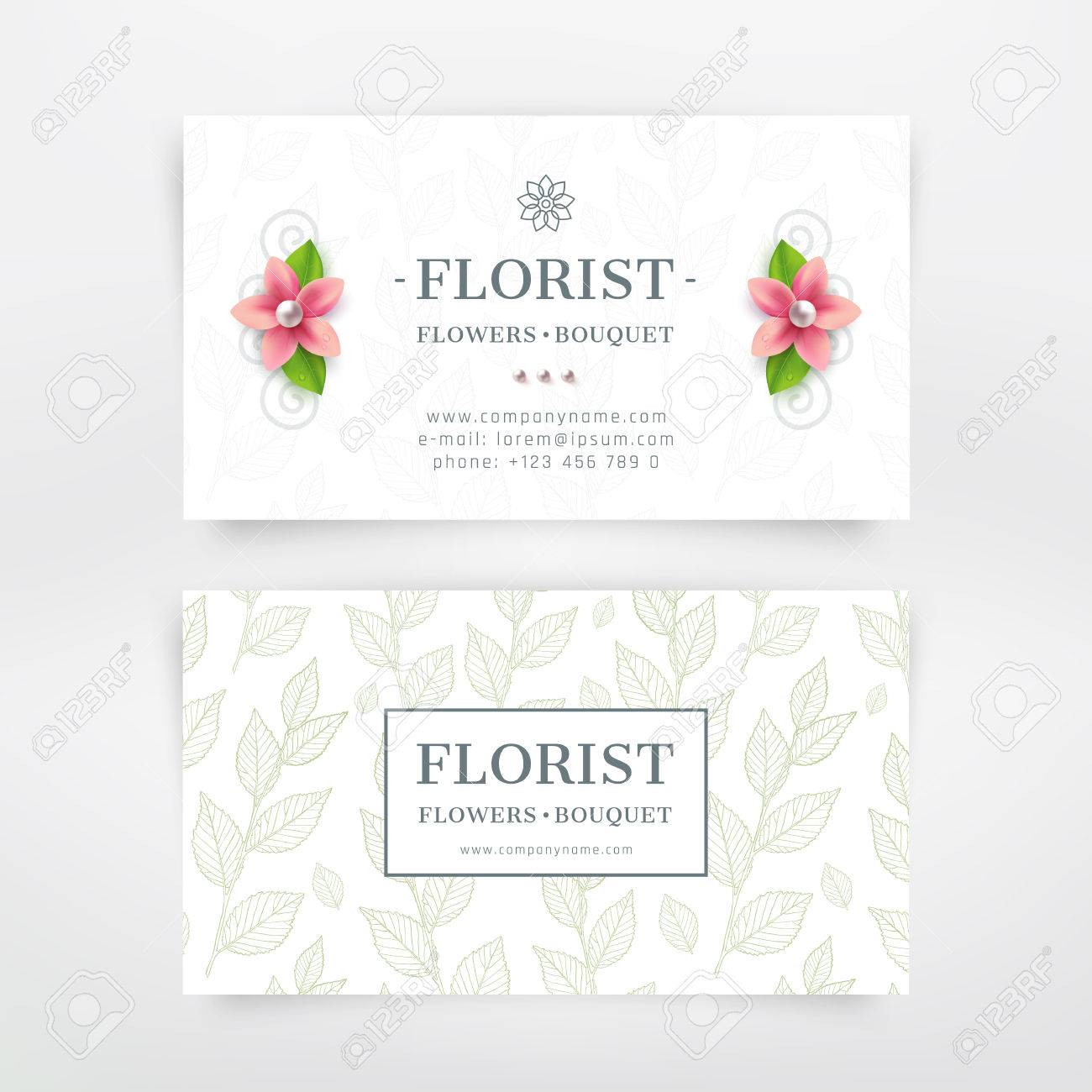 Florist Business Card Design. With Flower And Branch With Leaves ...