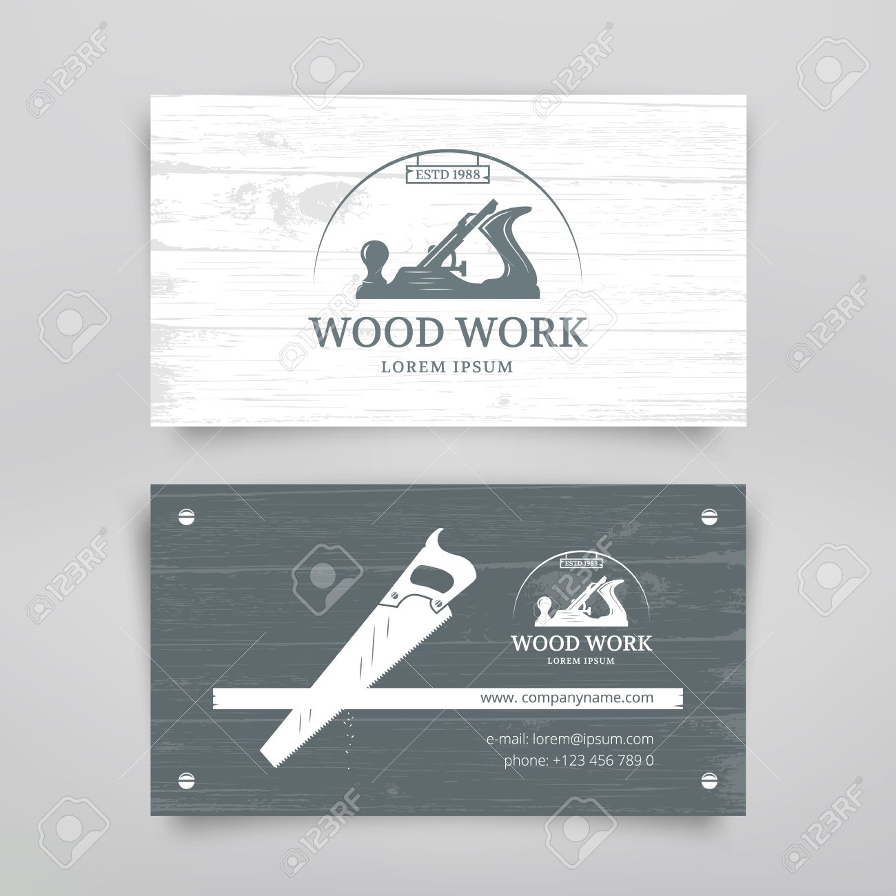 Woodwork Vintage Style Business Card Design Template. Carpentry ...