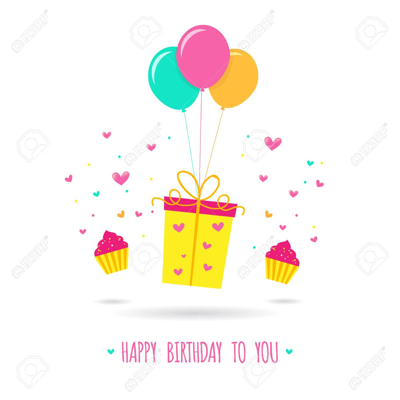Happy Birthday Card Design Template Gift With Balloons Vector