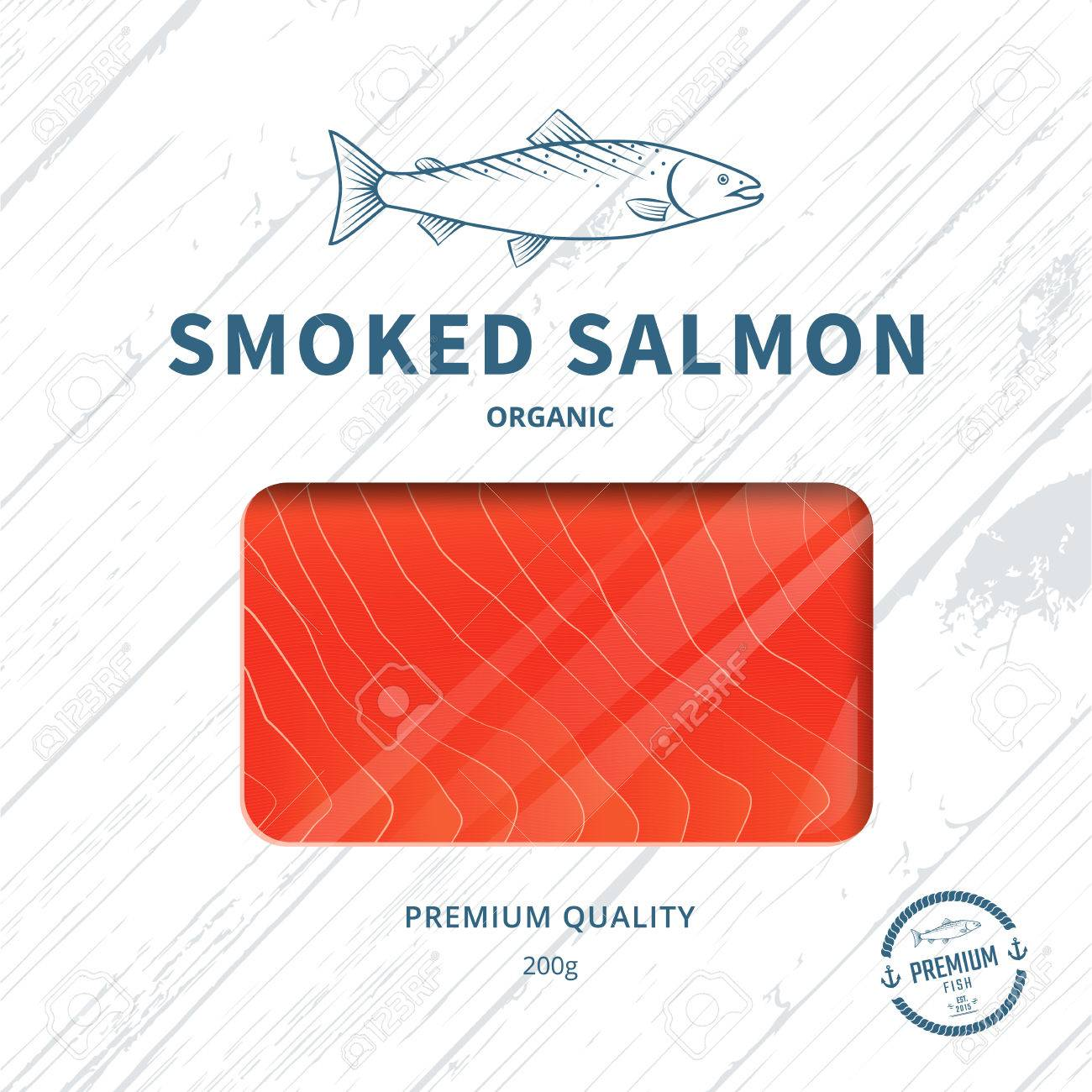 packaging design template for smoked salmon fish package royalty