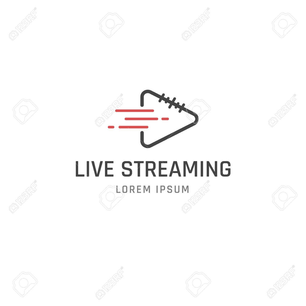 Live Streaming vector logo design template. Line style. - 51330197