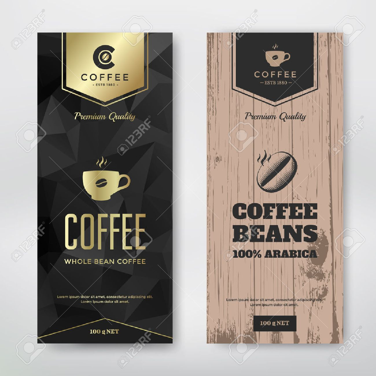 Packaging Design For A Coffee Vector Template Modern And Vintage Style Stock