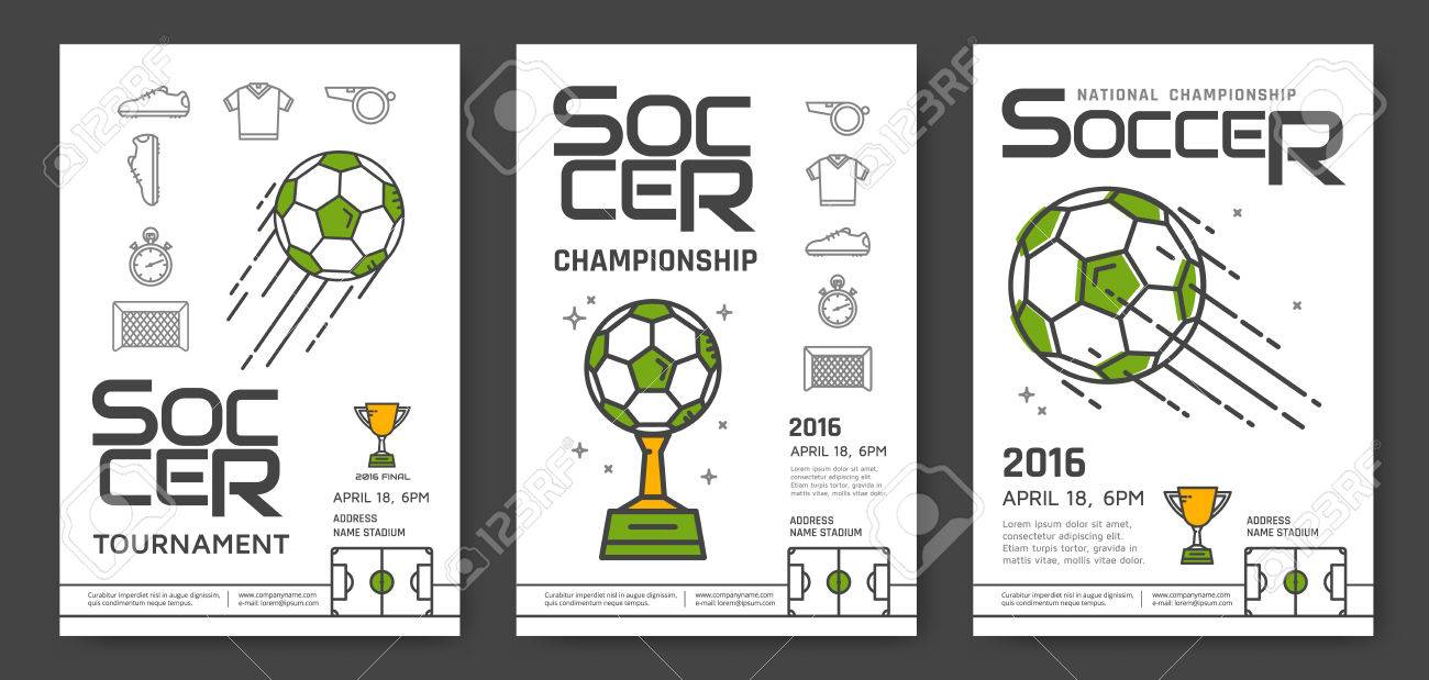 Soccer Championship Modern Line Posters Design Sport Competition Vector Illustration Stock