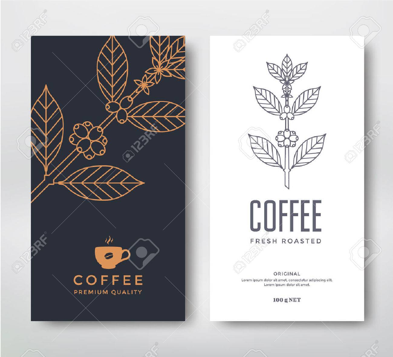 Packaging Design For A Coffee. Vector Template. Line Style Vector ...